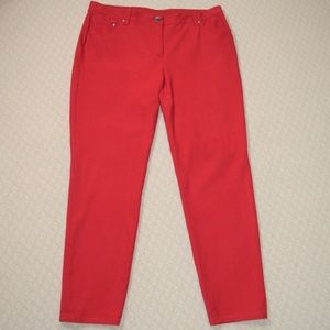 Chicos So Slimming Red Straight Leg Jeans (Short)